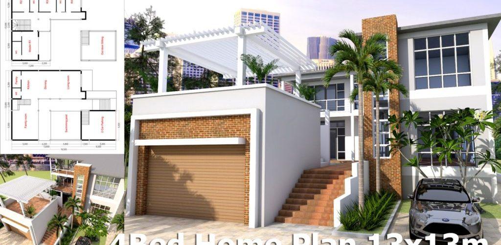 4 Bedroom House Design Plan 13x13m