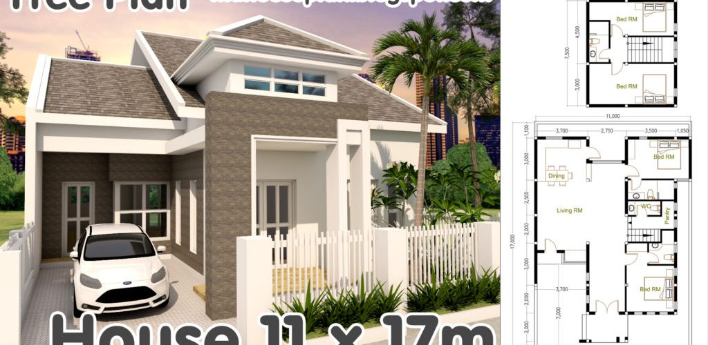4 bedrooms house plan 11x17m