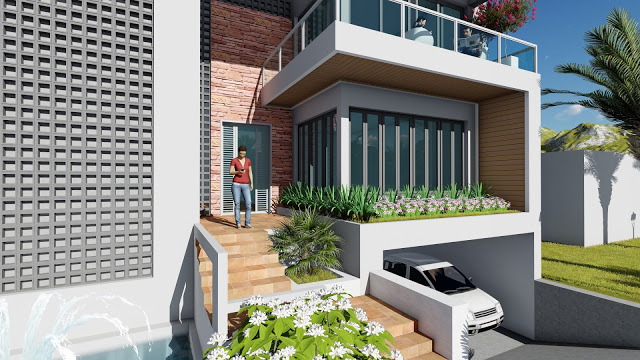 How to Draft Front Villa Design SketchUp and Lumion