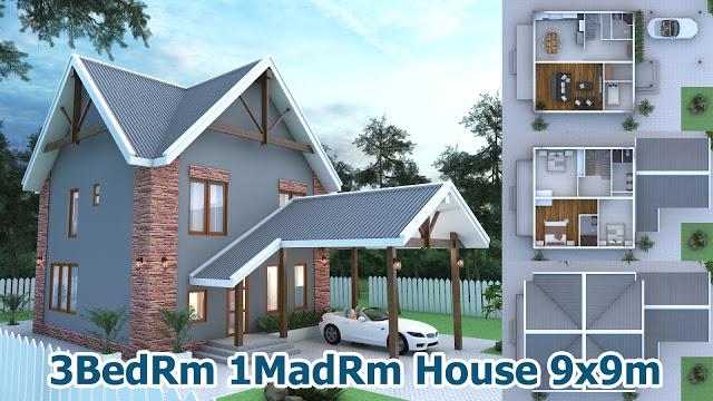 3 Bedroom House Plan 9x9m