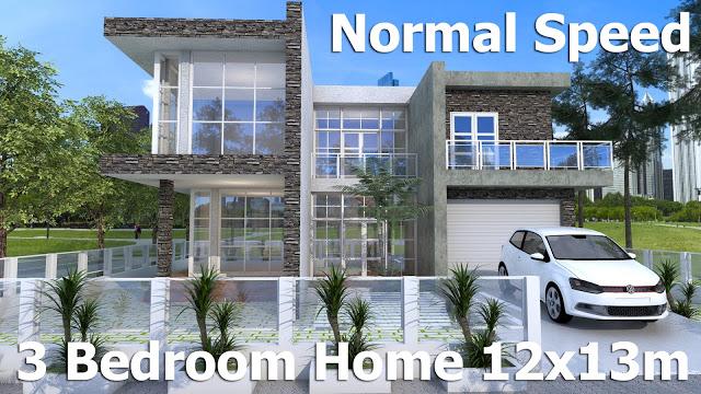 3 Bedroom Modern Home Design 12x13m