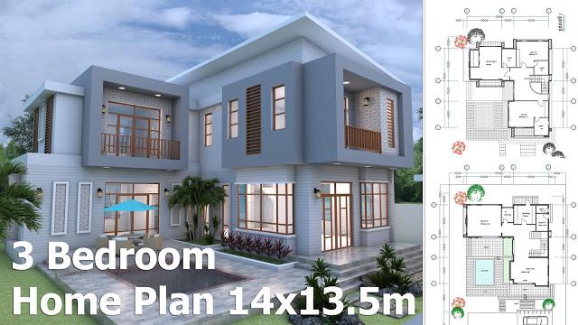 3 Bedrooms Modern Home Plan 14×13,5m