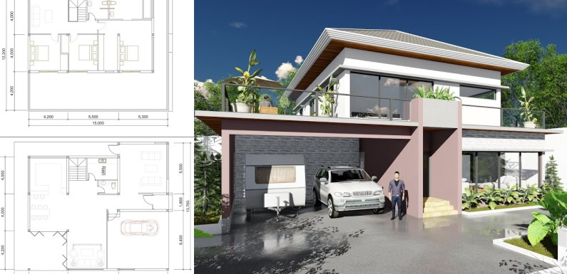 Modern 3 Bedroom Villa design Size 13m7x15m