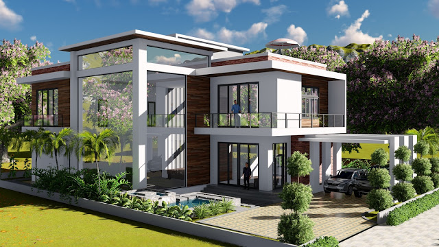 2 stories Villa Design Size 13.8x19m 4bedroom