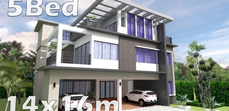 5 Bedrooms Home Plan 14x16m