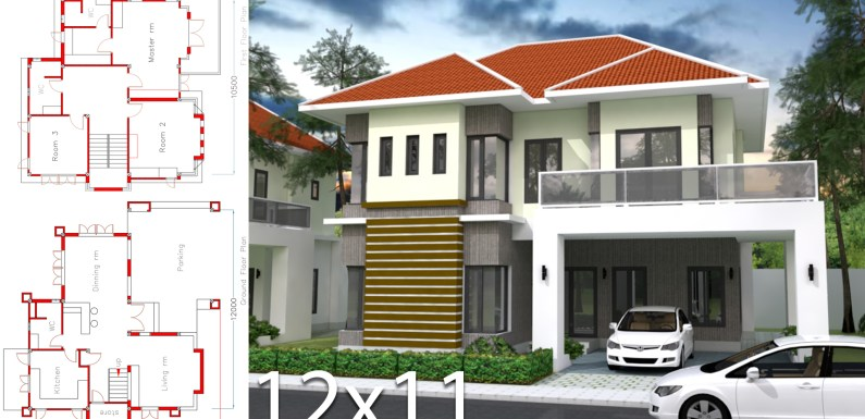 3 Bedrooms Home Plan 12x11m