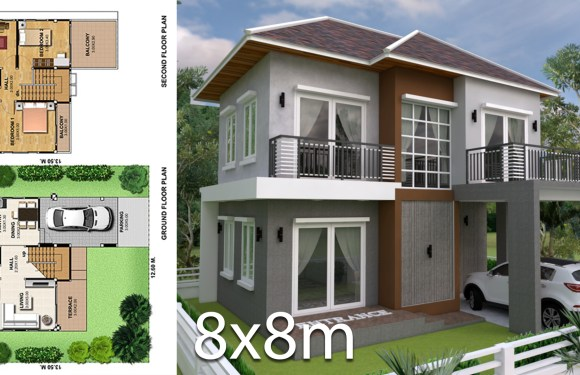 3 Bedrooms Home Plan 8x8m