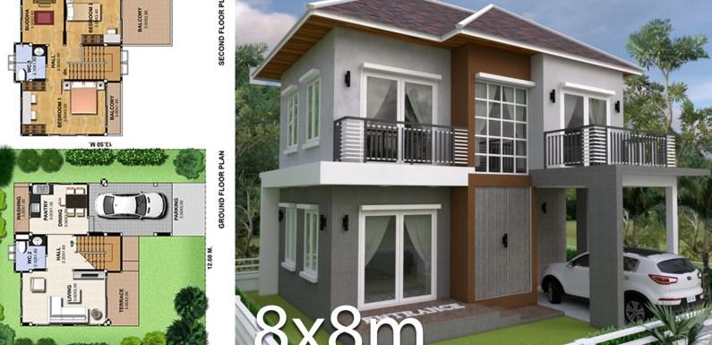3 Bedrooms Home Plan 8x8m