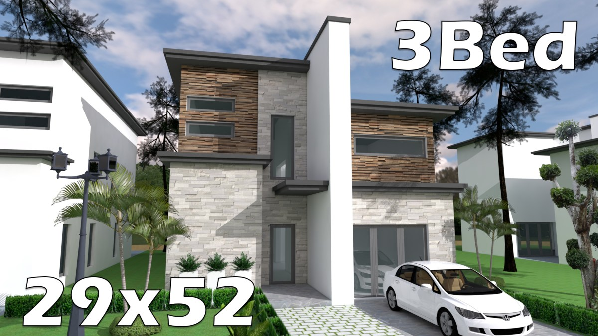 29x52 Bungalow House with 3 Bedrooms