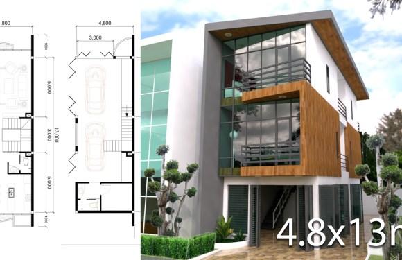 3 Stories Narrow House Design size 4.8x13m