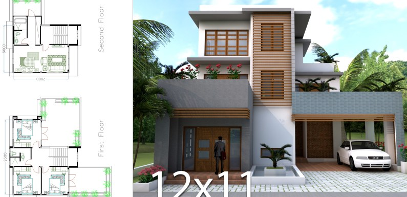 Sketchup Modern 4 Bedrooms Home Plan 11x12m