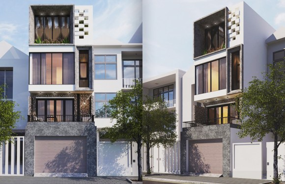 Narrow Building Plan 4.5×16.5 Meter with 3 Bedrooms