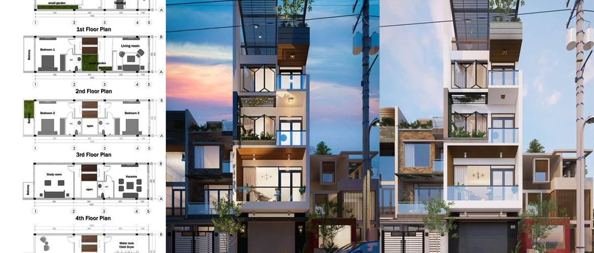 Narrow Lot Luxury House Plan 4.5×14.6m