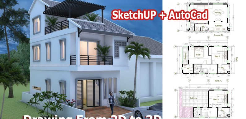 Tiny House 5.6*8m – Drawing From 2D and 3D
