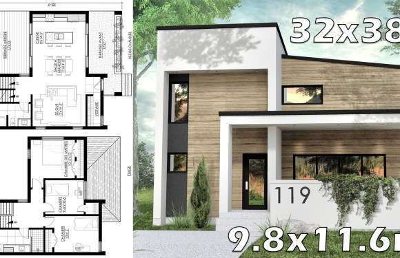 Two Story House with 3 Bedrooms 32x38f