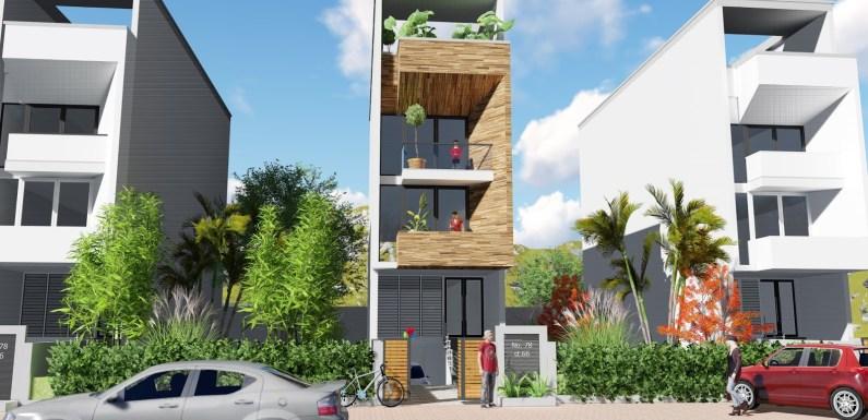 Narrow Lot House Plan 4.4 x 16 Meter