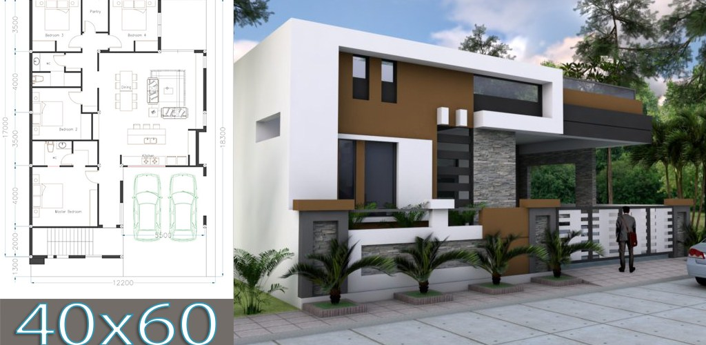 One Story House Plan 40×60 Sketchup Home Design