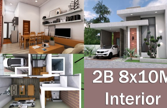 Interior Design One Story House 8x10M