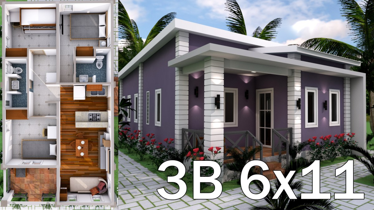 Low Budget 3 Bedrooms Home Plan 6x11
