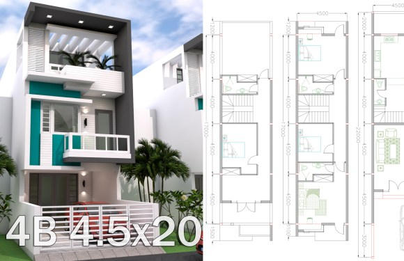 Sketchup 3 Story Narrow Home Plan 4.5x20m