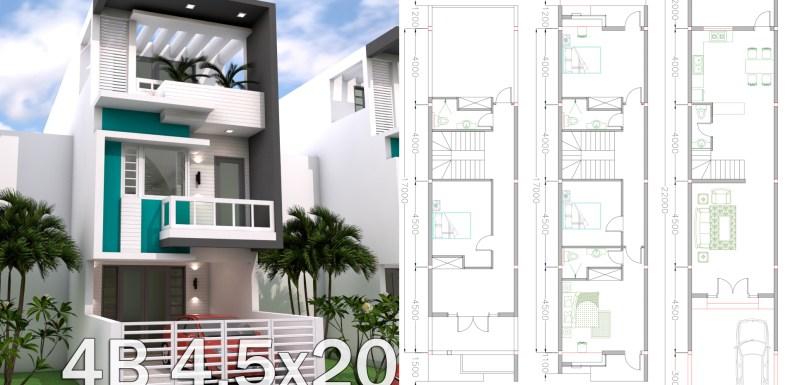 Sketchup 3 Story Narrow Home Plan 4.5x20m