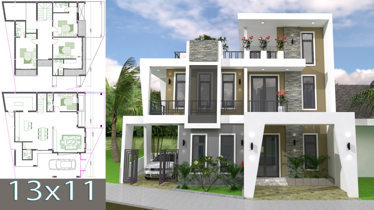 Home Design Plan 13x11m with 4 Bedrooms Plot 13x15
