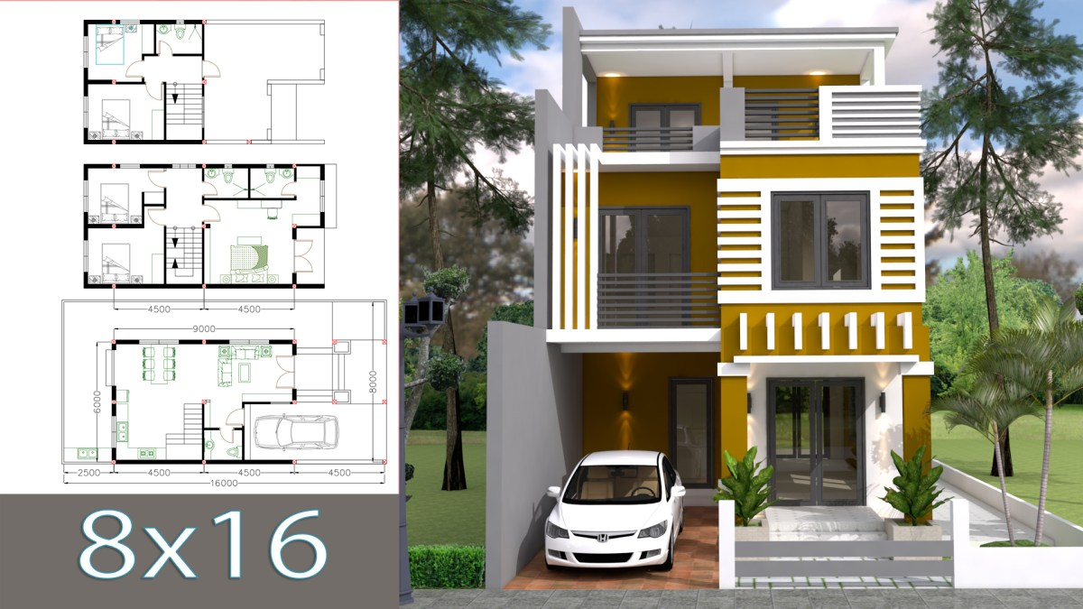 Home Design Plan 6x11m with 5 Bedrooms Plot 8x16m