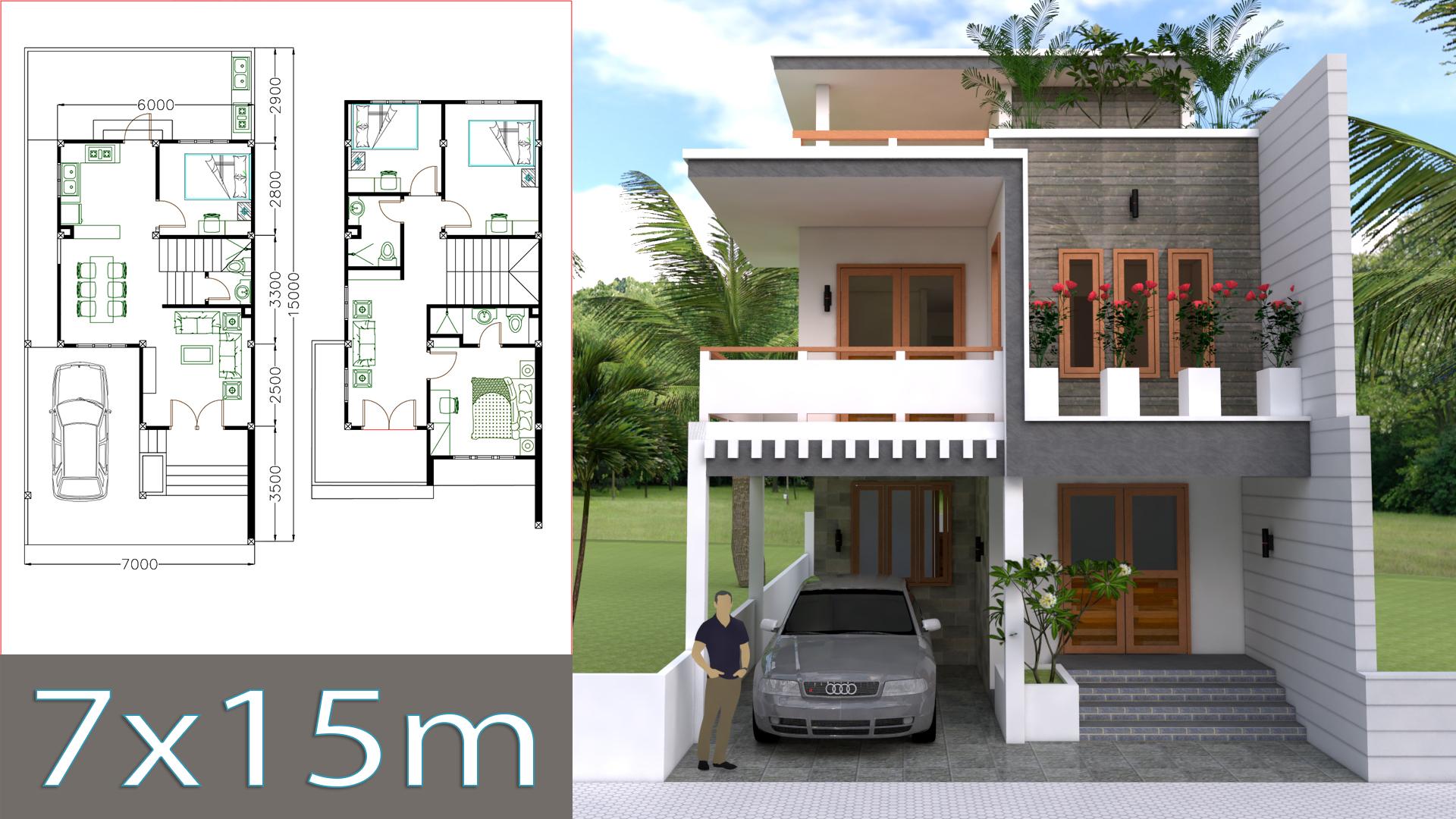 Home Design Plan 7x15m With 4 Bedrooms Samphoas Plan