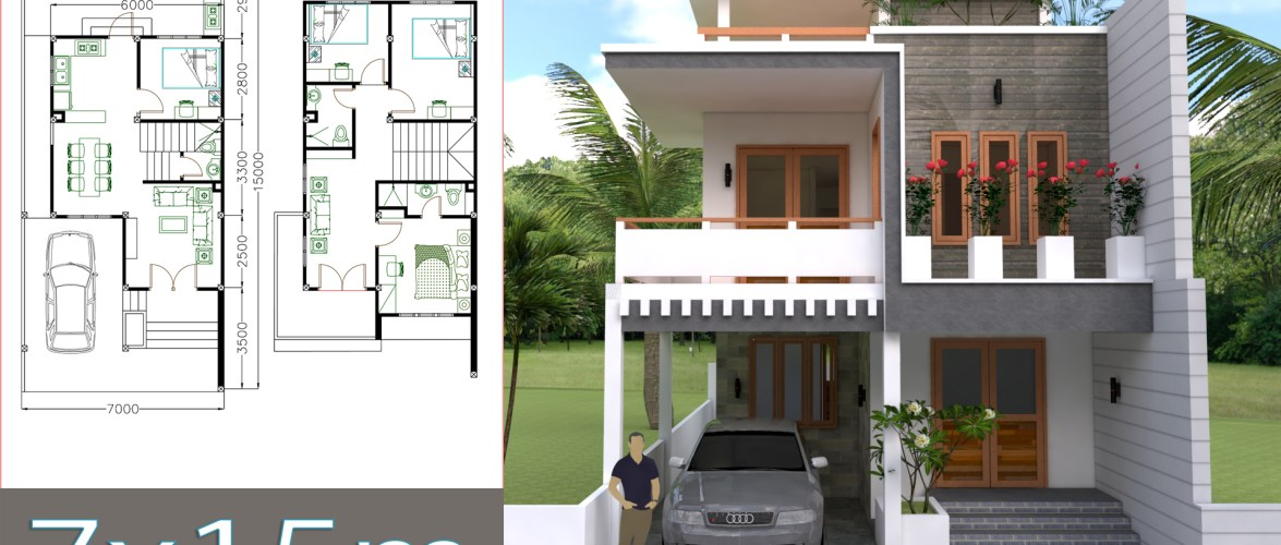 Home Design Plan 7x15m with 4 Bedrooms