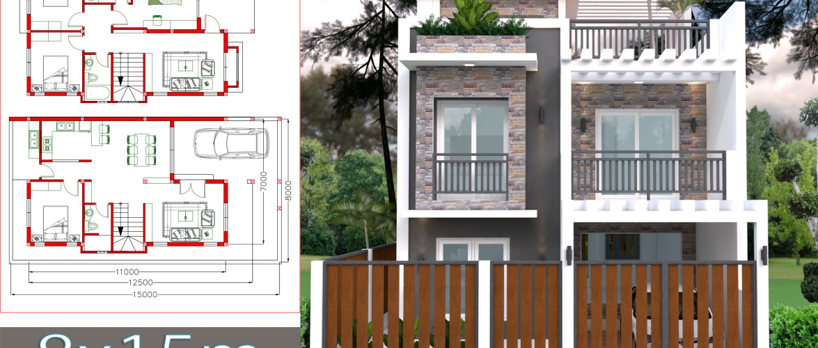 Home Design Plan 7x11m Plot 8×15 with 4 Bedrooms