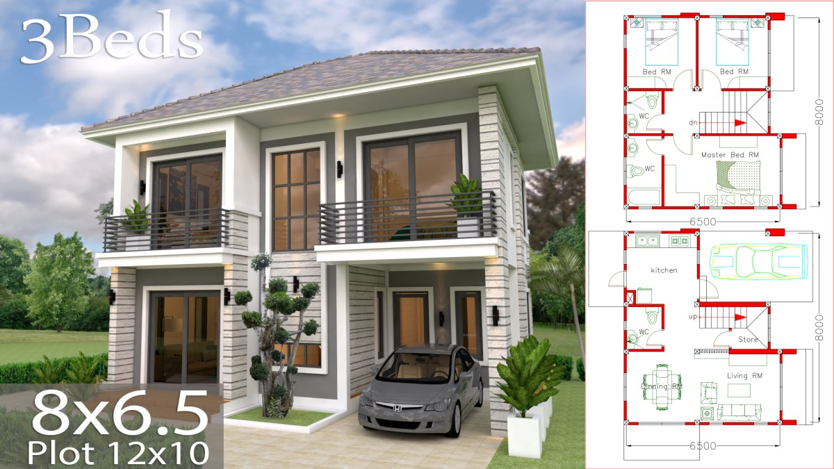 Home Design Plan 8x6.5m With 3 Bedrooms
