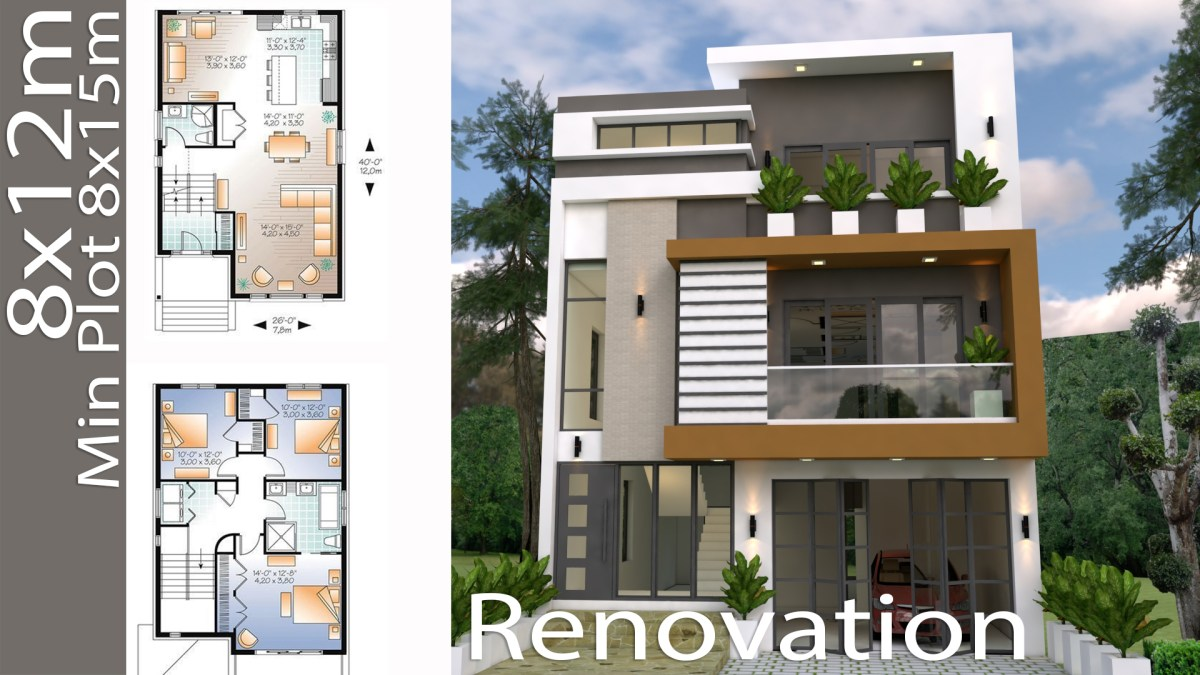 Home Design Plan 8x12m With 3 Bedrooms