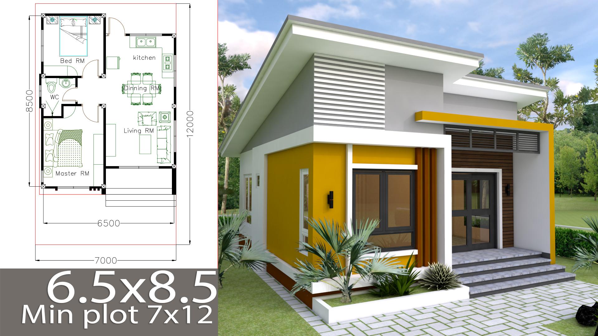 Small Home design Plan 6.5x8.5m with 2 Bedrooms - SamPhoas Plan