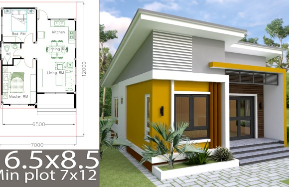 Small Home design Plan 6.5×8.5m with 2 Bedrooms