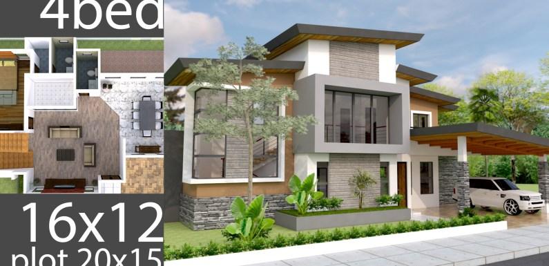 Plan 3D Home Design 20x15m Full Plan 4Beds