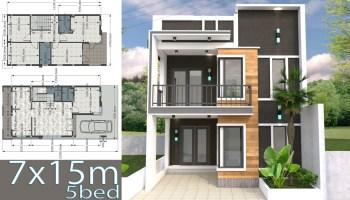 Home Design Plan 7x15m with 4 Bedrooms - SamPhoas Plan