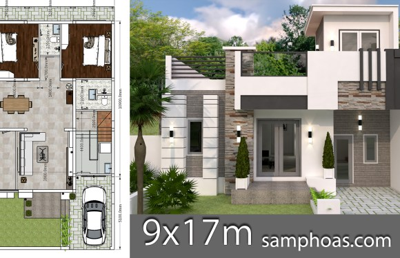 Interior Home Design Plan 9x12m 2 Bedrooms