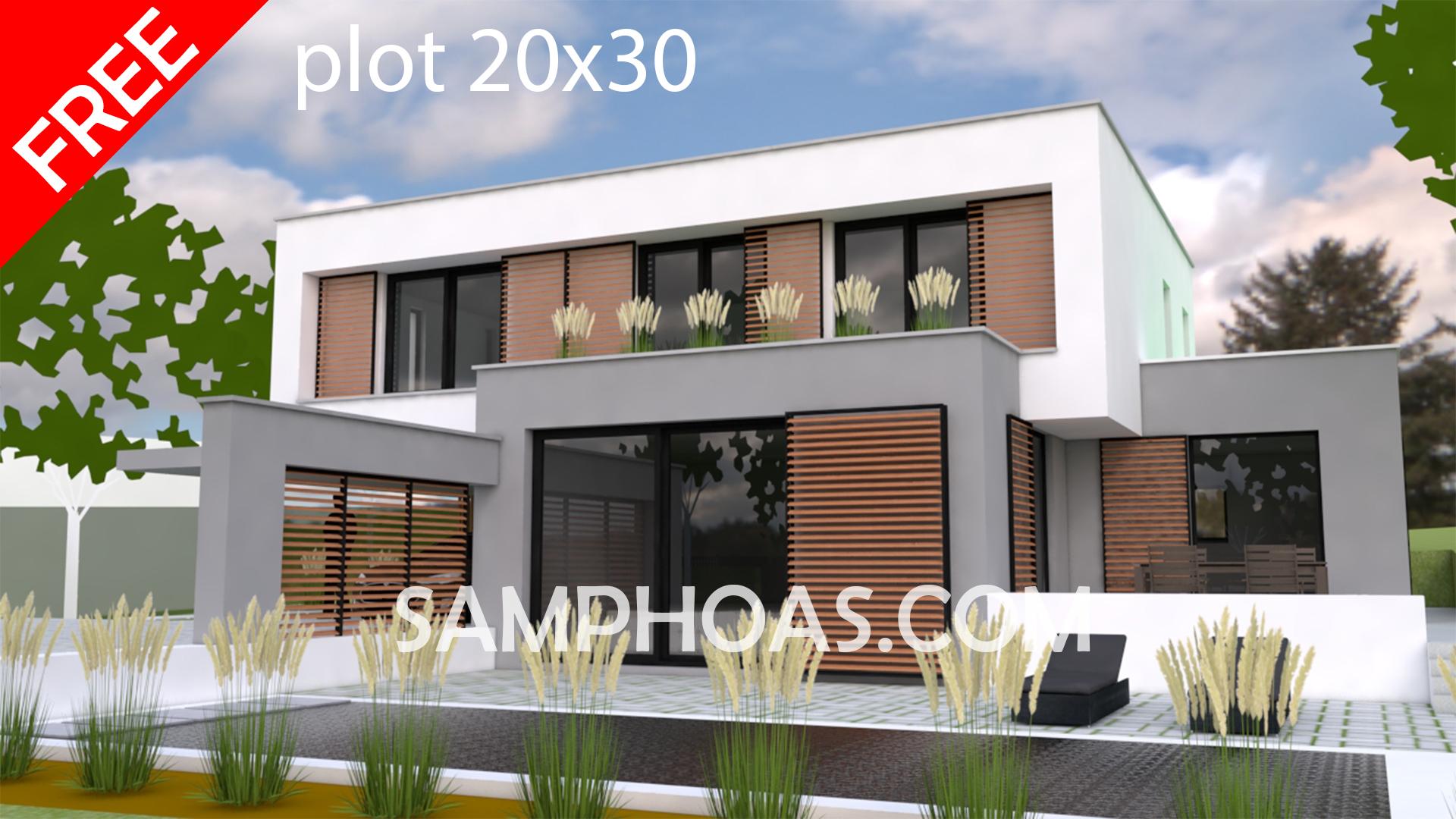 Sketchup Model Exterior House design Idea 3d house plan 20x30m ...