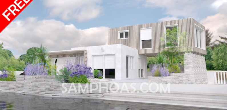 The lake house Architectural design 3d home design 16x16m