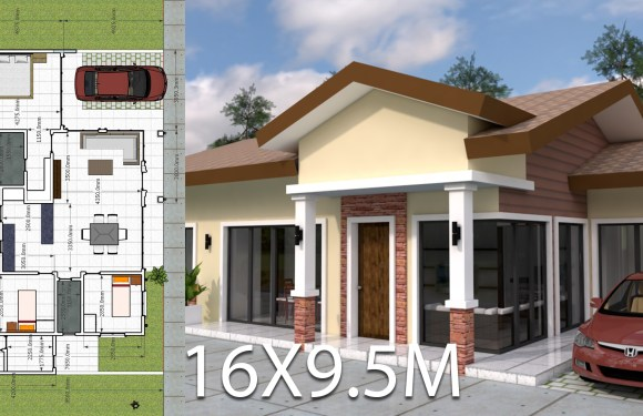 Plan 3d Home Design 16×9.5m 3 Bedrooms