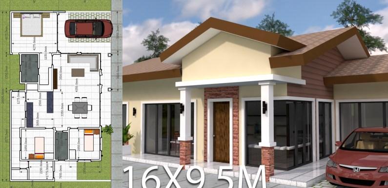 Plan 3d Home Design 16×9.5m 3 Bedrooms