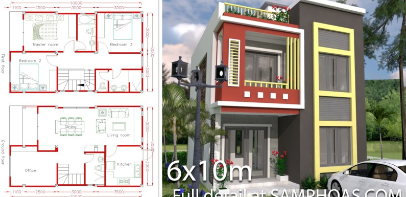 Home Design Plan 6x10m with 3 Bedrooms.