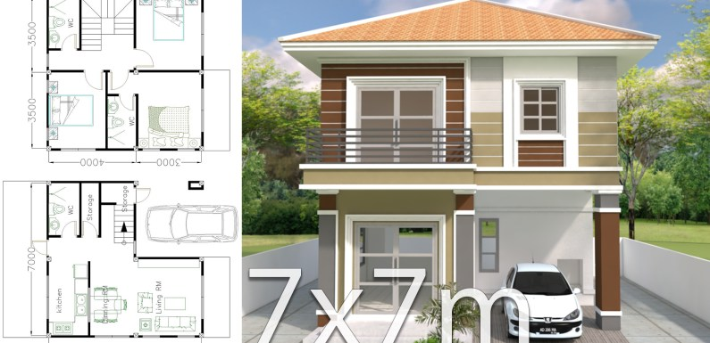 Home Design Plan 7x7m with 3 Bedrooms