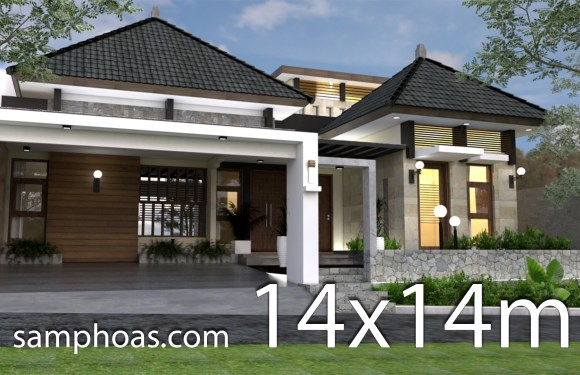 One Story House Design Plan 14x14m 3bedrooms
