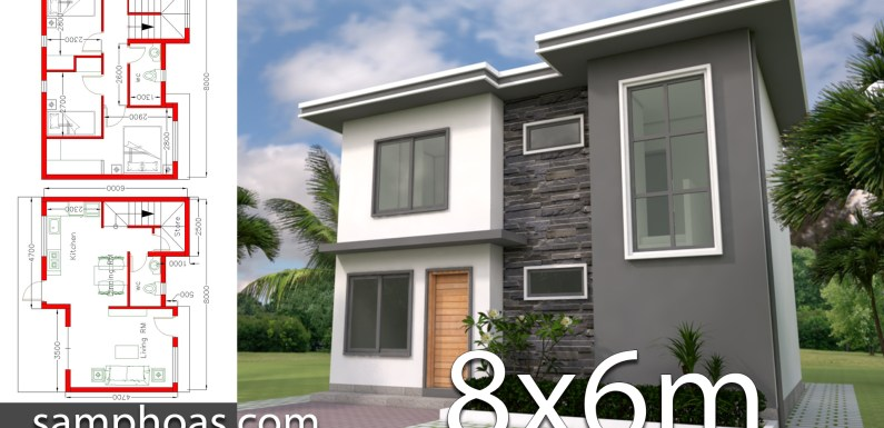 Plan 3D Home Design 8x6m with 3 Bedrooms