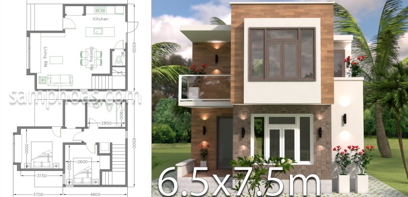 Small House Design with Full Plan 6.5×7.5m 2 Bedrooms