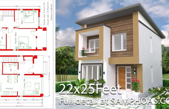 Home Design Plan 6.5×7.5M 2 Bedrooms A2