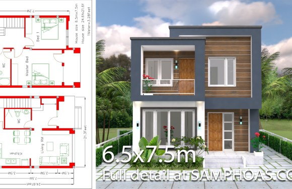 Home Design Plan 6.5×7.5M 2 Bedrooms