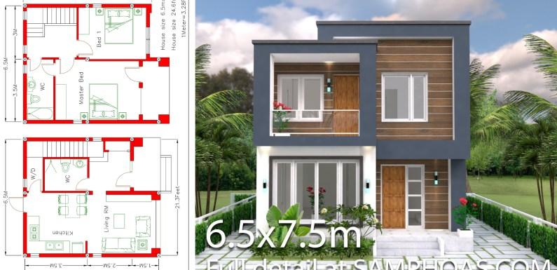 Home Design Plan 6.5×7.5M 2 Bedrooms