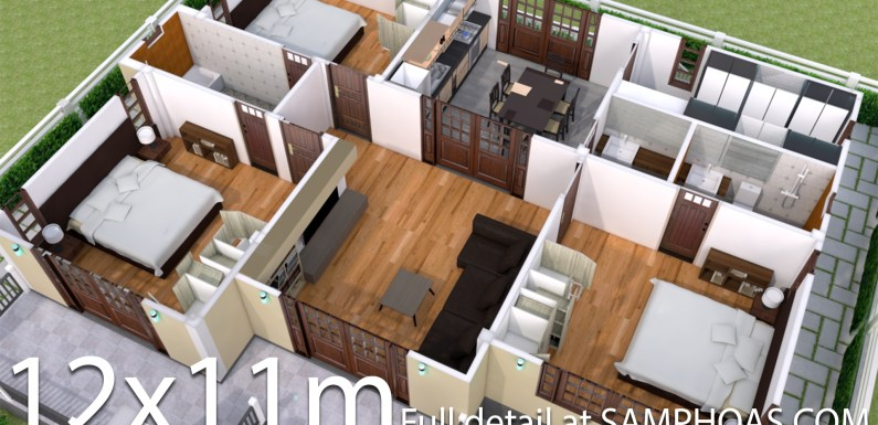 Interior Design Plan 12x11m with Full Plan 3Beds